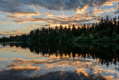 Evening lake, lake at sunset. Sunset on Lake, Evening lake, lake at sunset Stock Photography