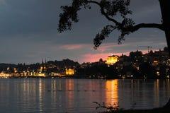 Evening on Lake Lucerne. Sunset and lights on Lake Lucerne, Switzerland Royalty Free Stock Photo