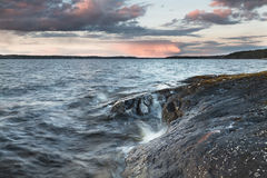 Evening on the lake. At Näsijärvi, Finland Royalty Free Stock Images