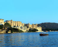 Evening on lake and palace in Udaipur Stock Image