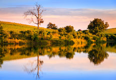 Evening on the lake. Peaceful sunset scene on a small lake in Central Kentucky Stock Photo