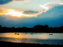 Evening lake Rama 9 park in Bangkok Thailand . Stock Photo