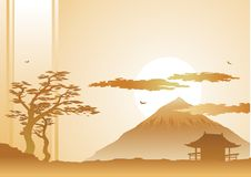Evening landscape. With mountain, silhouette tree and clouds royalty free illustration