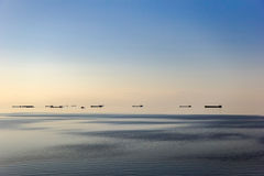 Evening landscape of the Azov sea. With a view of the ships in the Harborn Royalty Free Stock Image