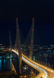 Evening landscape with a bridge across the Golden Horn. Vladivostok. Royalty Free Stock Photography