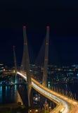 Evening landscape with a bridge across the Golden Horn. Vladivostok. Royalty Free Stock Photography