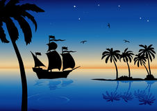 Evening landscape with caravel. Vector tropical landscape with caravel, palms and ocean Royalty Free Stock Images