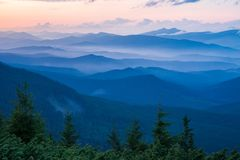 Evening landscape in Carpathian Mountains Stock Photography