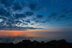 Evening landscape. With cloudy sky at Baltic sea stock image