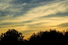Evening landscape with contrasting sunset skies Royalty Free Stock Images