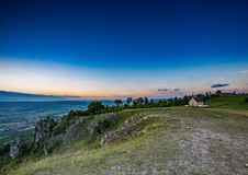 Evening landscape of the famous hill Walberla with the Walpurgis chapel at the franconian suisse in Bavaria in south Germany Royalty Free Stock Photos