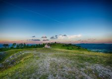 Evening landscape of the famous hill Walberla with the Walpurgis chapel at the franconian suisse in Bavaria in south Germany Stock Photo