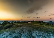 Evening landscape of the famous hill Walberla with the Walpurgis chapel at the franconian suisse in Bavaria in south Germany Royalty Free Stock Image