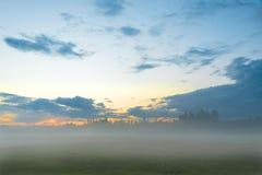 Evening landscape with fog. Dusk. Stock Photography