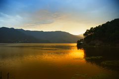 Evening landscape with lake and mountains Royalty Free Stock Images