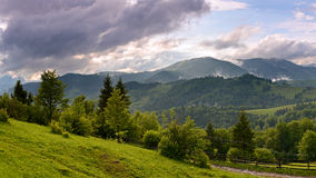 Evening landscape in the mountains. Ukraine. Stock Photography
