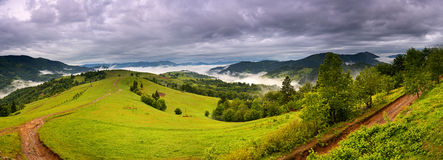 Evening landscape in the mountains. Ukraine. Royalty Free Stock Photography