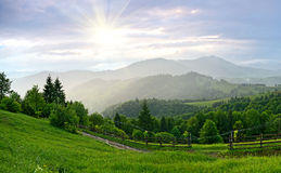 Evening landscape in the mountains. Ukraine. stock photos