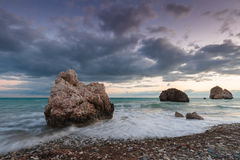 Evening landscape at Petra tou Romiou. Paphos. Cyprus Royalty Free Stock Images
