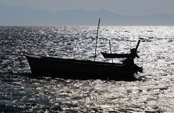 Fishing boats silhouette on Red Sea stock photo