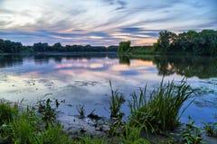 Evening landscape on river in Kolomna Stock Photo