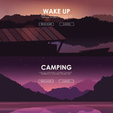Evening landscape on the river. Vector illustration. Lake house Stock Photos