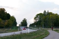 Evening landscape with road Stock Photo