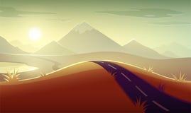 Evening landscape sunshine of sunset mountains sky Royalty Free Stock Photography