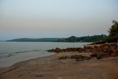 Evening landscape, twilight of the sea. Goa state, India. Royalty Free Stock Image