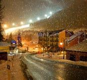 Evening Bukovel. Evening landscape in the winter resort of Bukovel stock image