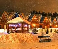 Evening Bukovel. Evening landscape in the winter resort of Bukovel stock photo