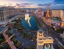 Aerial view of Las Vegas Strip at sunset royalty free stock photo