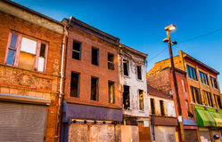 Evening light on abandoned buildings at Old Town Mall, Baltimore royalty free stock images