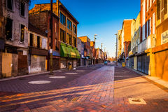 Evening light on abandoned shops at Old Town Mall, Baltimore, Ma royalty free stock images