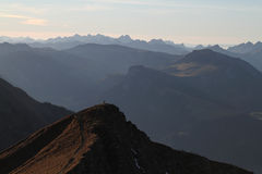 Fernsicht. Evening light in the alps royalty free stock photography