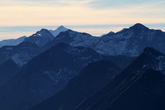 Evening light. In the alps stock image