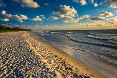 Evening light at the beach in Naples, Florida. Royalty Free Stock Images
