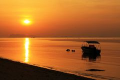 Evening light at the beach. Sunset on the beach Stock Photo