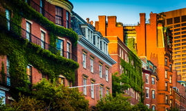 Evening light on brick buildings along Beacon Street in Boston, Stock Photography