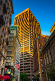 Evening light on buildings along Beacon Street in Boston, Massac Stock Photos