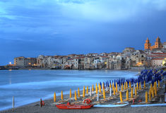 Evening light on Cefalu , Sicily Royalty Free Stock Images