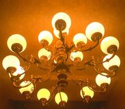 evening light from Chandelier bottom view Royalty Free Stock Photography