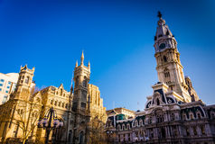 Evening light on City Hall and the Masonic Temple, in Philadelph Stock Image