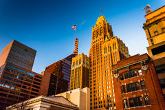 Evening light on a cluster of buildings in downtown Baltimore, M Stock Photos