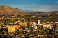 Evening light on on distant mountains and the city of Riverside  Stock Photography