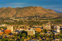 Evening light on on distant mountains and the city of Riverside  Stock Image