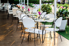 Evening light in empty restaurant Royalty Free Stock Photo