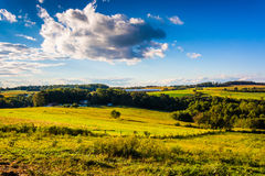 Evening light on farm fields and rolling hills near Cross Roads, Royalty Free Stock Photos