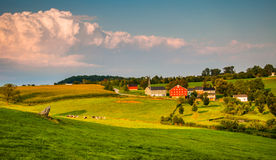 Evening light on farms and rolling hills in Southern York County Royalty Free Stock Photo