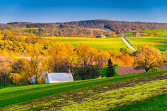 Evening light on fields and hills in rural York County, Pennsylv Stock Image